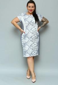 Sukienka KARKO z okrągłym dekoltem midi z krótkim rękawem