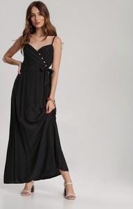 Czarna sukienka Renee z dekoltem w kształcie litery v rozkloszowana na ramiączkach