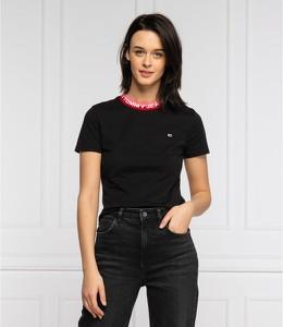 Czarny t-shirt Tommy Jeans z krótkim rękawem w stylu casual