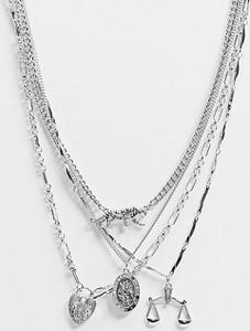 Reclaimed Vintage Inspired – Wielorzędowy naszyjnik z różnymi zawieszkami w kolorze srebrnym