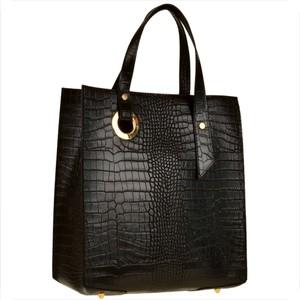 Czarna torebka Borse in Pelle ze skóry z tłoczeniem duża