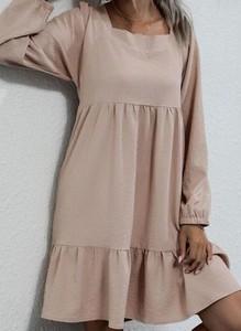 Brązowa sukienka Cikelly mini z długim rękawem