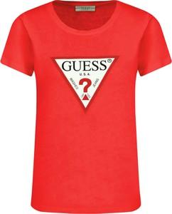 Czerwony t-shirt Guess Jeans z okrągłym dekoltem