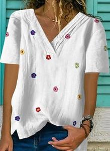 Bluzka Sandbella z dekoltem w kształcie litery v z bawełny z krótkim rękawem