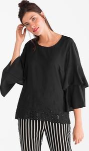 f39a0210781c Czarna bluzka CANDA z dżerseju z okrągłym dekoltem z długim rękawem