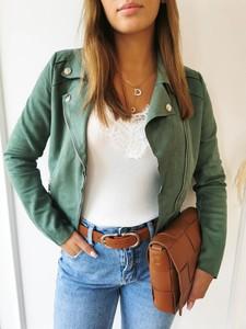 Zielona kurtka Perfe bez kaptura z zamszu w stylu casual