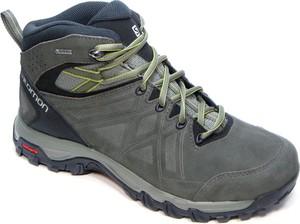 Brązowe buty trekkingowe Salomon sznurowane ze skóry