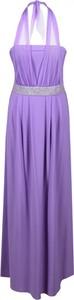 Fioletowa sukienka Fokus maxi z dekoltem w kształcie litery v