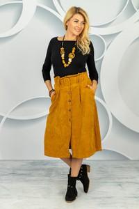 Brązowa spódnica Made in Italy midi ze sztruksu w stylu klasycznym