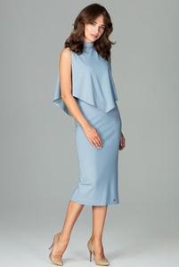 Niebieska sukienka LENITIF bez rękawów dopasowana midi