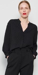 Czarna koszula Reserved z długim rękawem z dekoltem w kształcie litery v