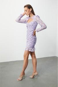 Fioletowa sukienka Trendyol z długim rękawem