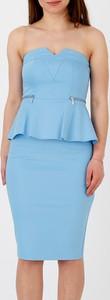 Niebieska sukienka Mohito bez rękawów dopasowana