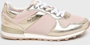 Złote buty sportowe Pepe Jeans na koturnie