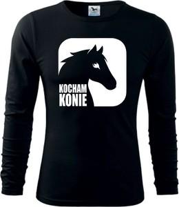 Czarna bluzka TopKoszulki.pl z długim rękawem z okrągłym dekoltem z bawełny