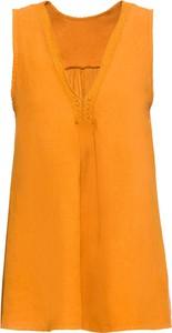 Bluzka bonprix BODYFLIRT z lnu z dekoltem w kształcie litery v bez rękawów