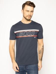 Granatowy t-shirt Hugo Boss z krótkim rękawem