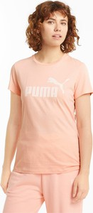 Różowy t-shirt Puma z krótkim rękawem z bawełny w sportowym stylu
