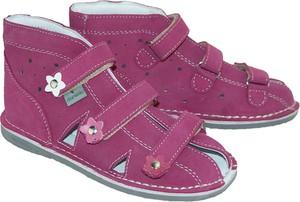 Fioletowe buty dziecięce letnie DANIELKI ze skóry