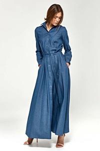 Niebieska sukienka Nife maxi z dekoltem w kształcie litery v