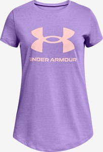 Fioletowa bluzka dziecięca Under Armour dla dziewczynek z bawełny
