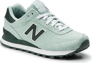 Miętowe buty sportowe New Balance z płaską podeszwą sznurowane ze skóry ekologicznej