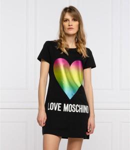 Sukienka Love Moschino prosta z krótkim rękawem z okrągłym dekoltem