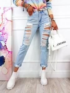Niebieskie jeansy Infinityfashion.pl z bawełny w stylu casual