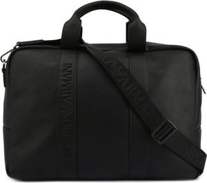 Czarna torba podróżna Emporio Armani ze skóry