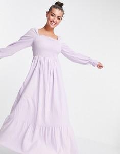 Fioletowa sukienka Vero Moda maxi z dekoltem w kształcie litery v