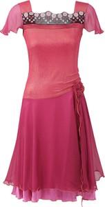 Fioletowa sukienka POTIS & VERSO mini z satyny z krótkim rękawem