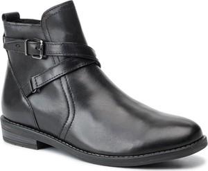 Czarne botki Marco Tozzi w stylu casual z płaską podeszwą