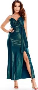Zielona sukienka TAGLESS z dekoltem w kształcie litery v