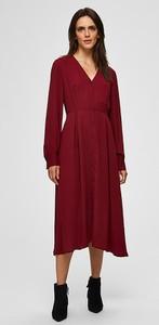 Sukienka Selected Femme z długim rękawem z dekoltem w kształcie litery v