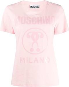 Różowy t-shirt Moschino z okrągłym dekoltem z bawełny z krótkim rękawem
