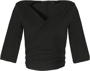 Czarna bluzka European Culture z dekoltem w kształcie litery v w stylu casual