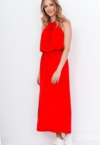 Czerwona sukienka ZOiO.pl prosta maxi bez rękawów