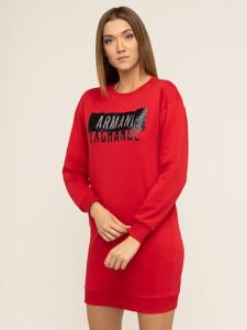Czerwona sukienka Armani Exchange z okrągłym dekoltem z długim rękawem mini