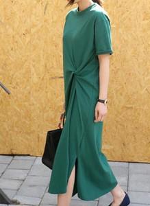 Zielona sukienka Arilook z bawełny z okrągłym dekoltem maxi