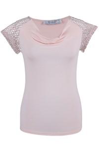 Różowa bluzka Fokus w stylu boho z krótkim rękawem