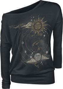 Czarna bluzka Emp z nadrukiem z długim rękawem z okrągłym dekoltem