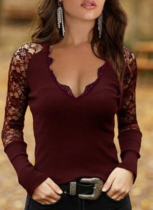 Czerwona bluzka Sandbella z długim rękawem