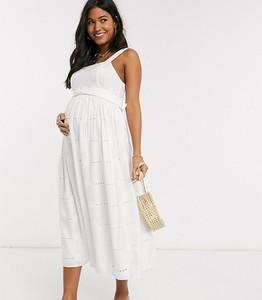 ASOS DESIGN Maternity – Biała sukienka letnia midi z paskiem i haftem angielskim w stokrotki-Biały