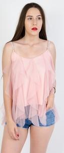 Różowa bluzka Olika z okrągłym dekoltem