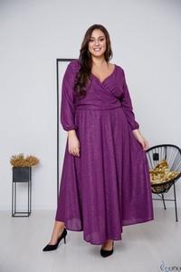 Fioletowa sukienka tono.sklep.pl z dekoltem w kształcie litery v z długim rękawem