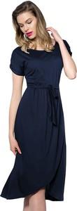 Granatowa sukienka Snm z okrągłym dekoltem midi oversize