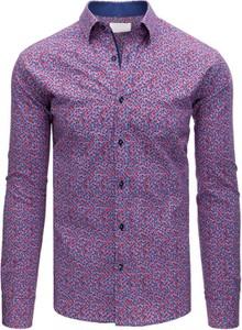 Fioletowa koszula Dstreet z kołnierzykiem button down z bawełny