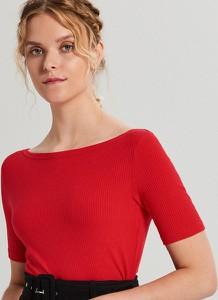 Czerwony t-shirt Cropp z krótkim rękawem w stylu casual z dekoltem w łódkę