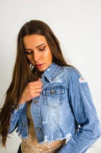 Niebieska kurtka Olika w młodzieżowym stylu krótka