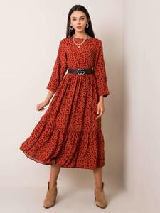 Czerwona sukienka Sheandher.pl z długim rękawem w stylu casual koszulowa